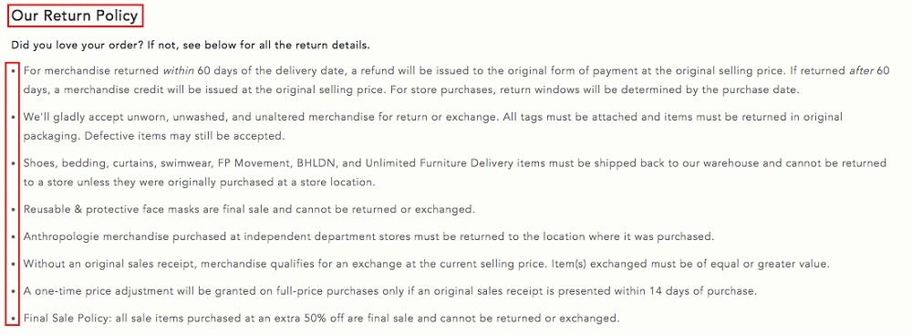 Anthropologie Help: Returns and Exchanges - Our Return Policy list