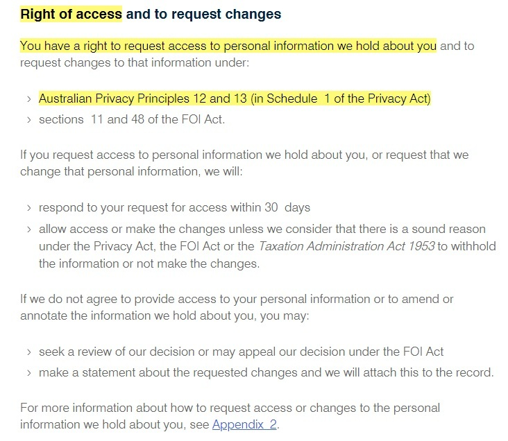 ATO Privacy Policy: Right of Access and to Request Changes clause