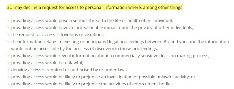 Bond University Privacy Policy: Access clause - Decline request for access section