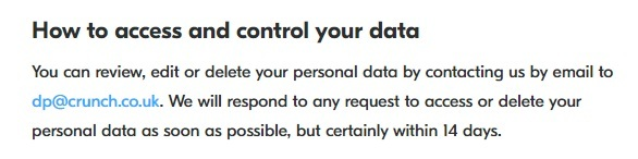 Crunch Privacy Policy: How to access and control your data clause