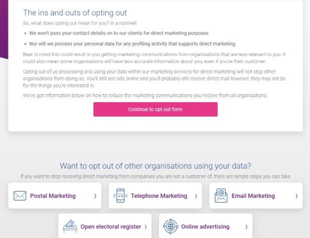 Experian Opt-Out Portal screen