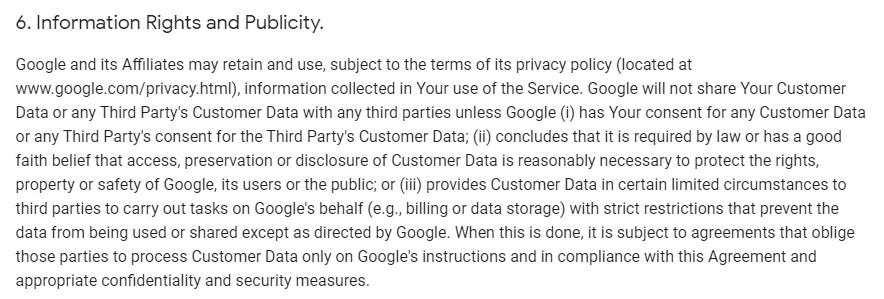 Google Analytics Firebase Terms of Service: Information Rights and Publicity clause