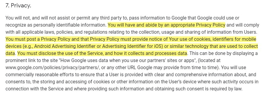 Google Analytics Firebase Terms of Service: Privacy clause with requirements highlighted