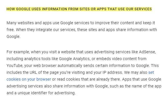 Google Privacy and Terms: How Google uses information from sites or apps that use our service - Intro excerpt