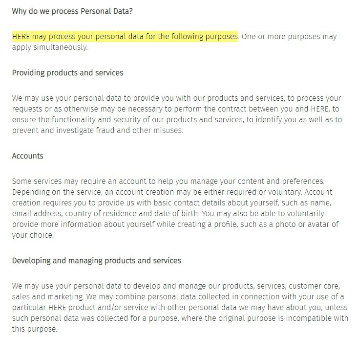 Here Privacy Policy: Why do we process personal data clause excerpt