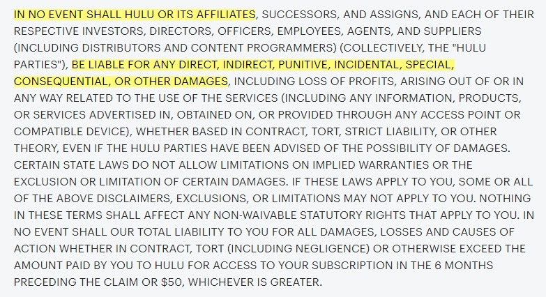 Hulu Terms and Conditions: Excerpt of Disclaimer of Warranties Limitation of Liability and indemnity clause