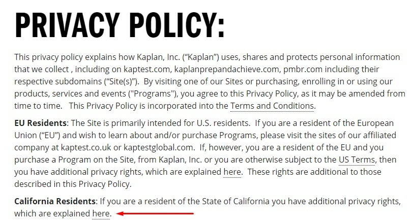 Kaplan Privacy Policy: California Residents rights link highlighted