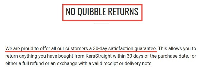 KeraStraight Returns Policy: 30 day satisfaction guarantee section highlighted