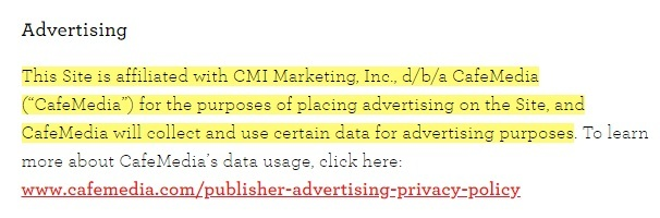 Love and Lemons Privacy Policy: Advertising disclaimer clause
