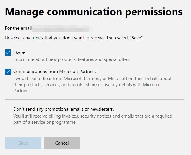Microsoft: Manage Communication Permissions screen