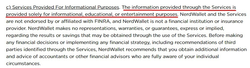 NerdWallet Terms of Use: Services Provided For Informational Purposes clause - Financial advice disclaimer