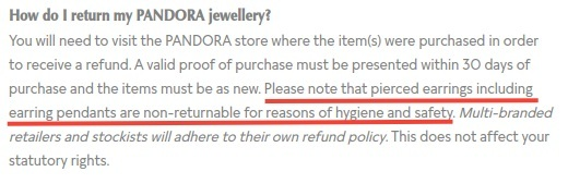 Pandora Returns and Exchanges Policy: Earring pendants not returnable section