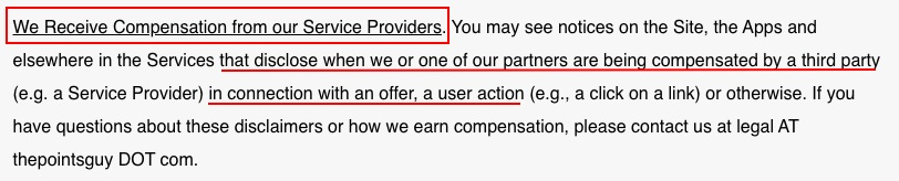 The Points Guy Terms of Use: We Receive Compensation from our Service Providers clause - Affiliate disclaimer