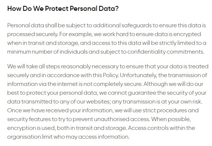 Privacy International: How We Use and Protect Your Data - How Do We Protect Personal data clause