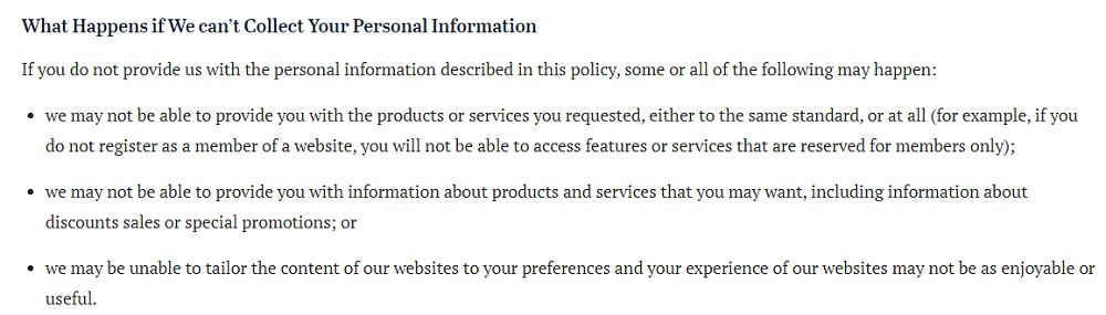 Sydney Morning Herald Privacy Policy: What Happens if We can't Collect Your Personal Information clause