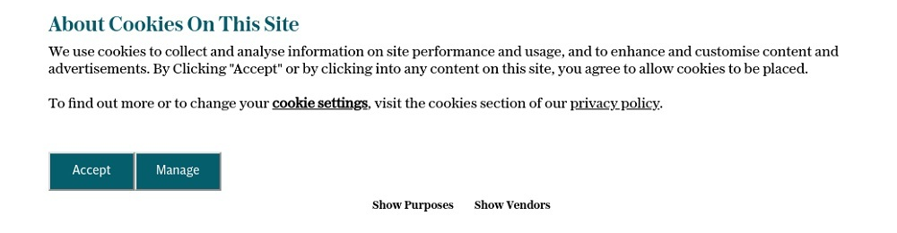 The Telegraph Cookies Consent Notice