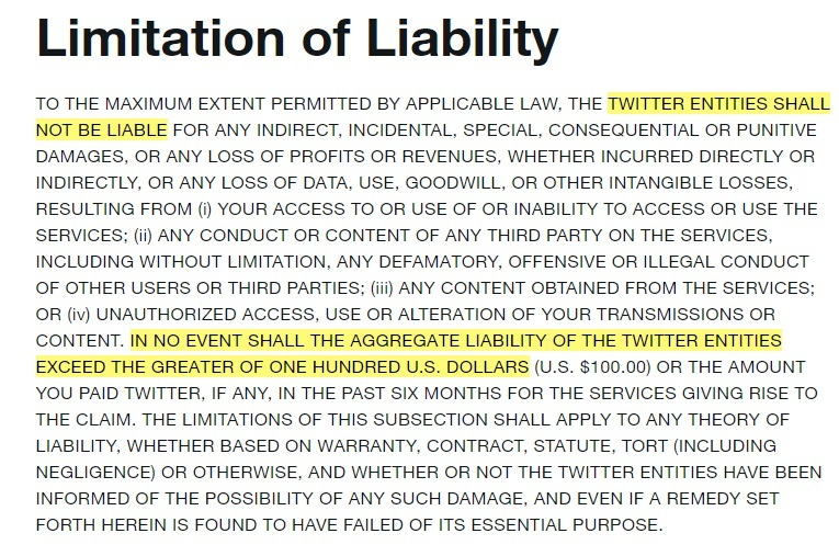Twitter Terms of Service: Excerpt of Limitation of Liability clause