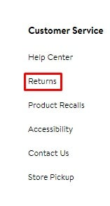 Walmart website footer with Returns link highlighted