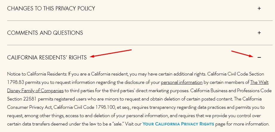 Walt Disney Privacy Policy: California Residents Rights clause