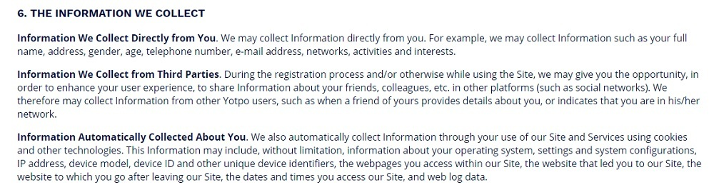 Yotpo Privacy Policy: Information we Collect clause