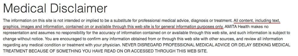 Amita Health Medical Disclaimer excerpt