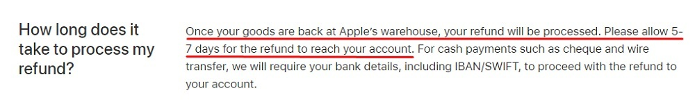 Apple Returns and Refunds Policy: Refund payment method and timeframe clause