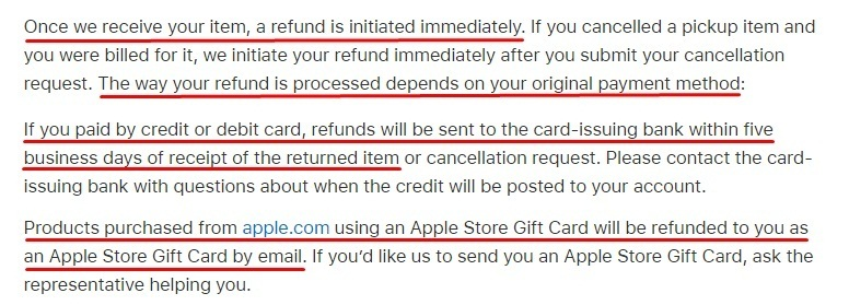 Apple Returns and Refunds Policy: Refunds clasue