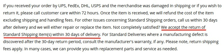 Ashley Furniture Return Policy: Online Purchase Return - Standard Shipping gets 30 days from delivery section