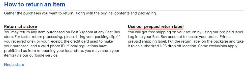 Best Buy Returns and Exchanges Policy: How to return an item - at a store or with prepaid label section