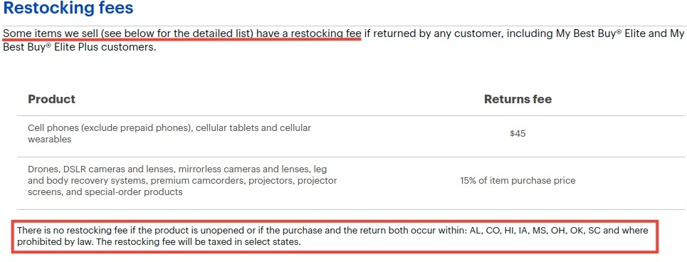 Best Buy Returns and Exchanges Policy: Restocking fees clause