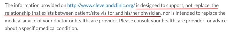Cleveland Clinic Terms of Use: Medical and health disclaimer