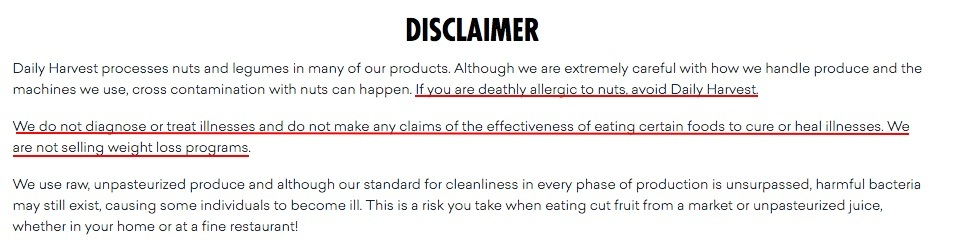 Daily Harvest - Medical and health disclaimer