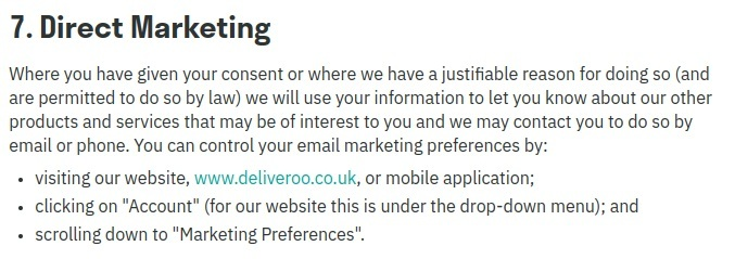 Deliveroo Privacy Policy: Direct marketing clause