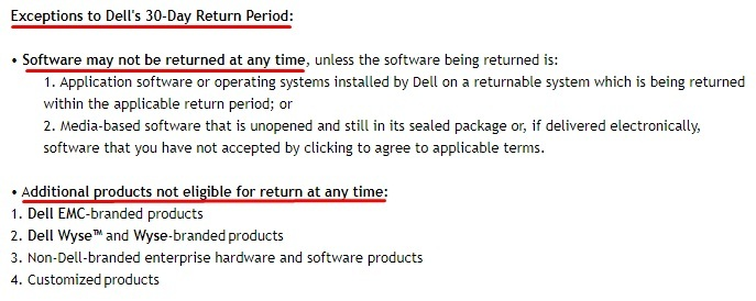 Dell Returns Policy: Exceptions clause