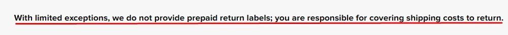 Fashion Nova Online Returns Policy: Prepaid return labels section