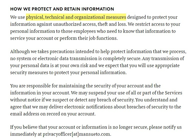 Fast Company Privacy Policy: How we protect and retain information clause excerpt