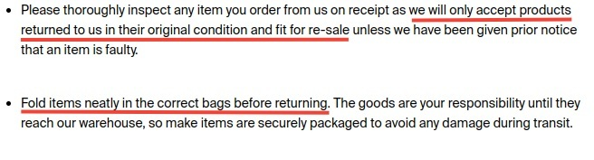 Good For Nothing Clothing Returns Policy: Conditions of return section