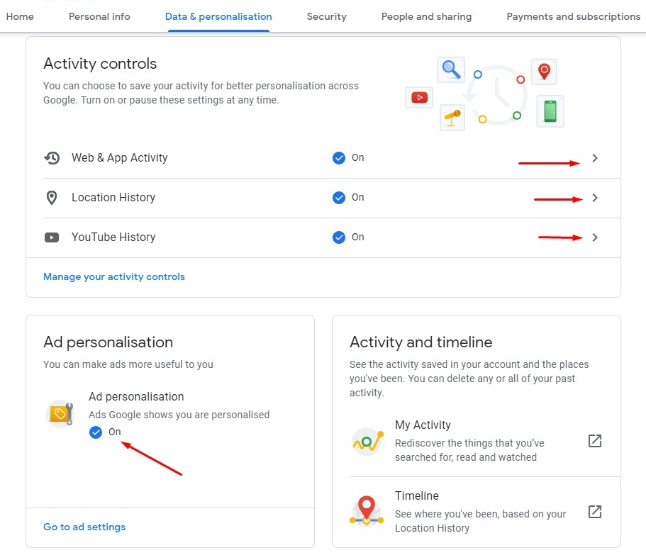 Google Account Data and Personalization: Activity Controls options highlighted