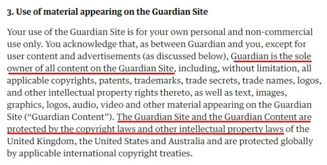 The Guardian Terms of Service: Excerpt of copyright and intellectual property clause