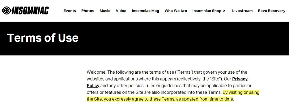 Insomniac Terms of Use: Introduction clause with browsewrap