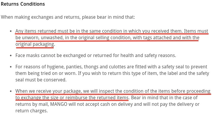 Mango Exchanges and Returns Policy: Returns Conditions clause