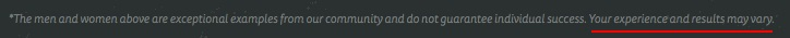 Nerd Fitness website footer disclaimer