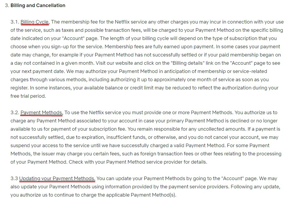 Netflix Terms of Use: Billing and Cancellation clause excerpt