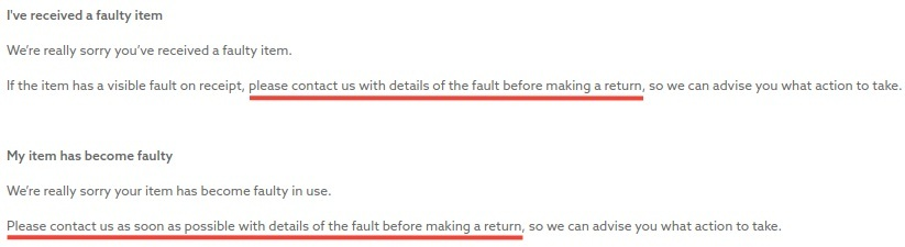 Next Returns Policy: Faulty items clause