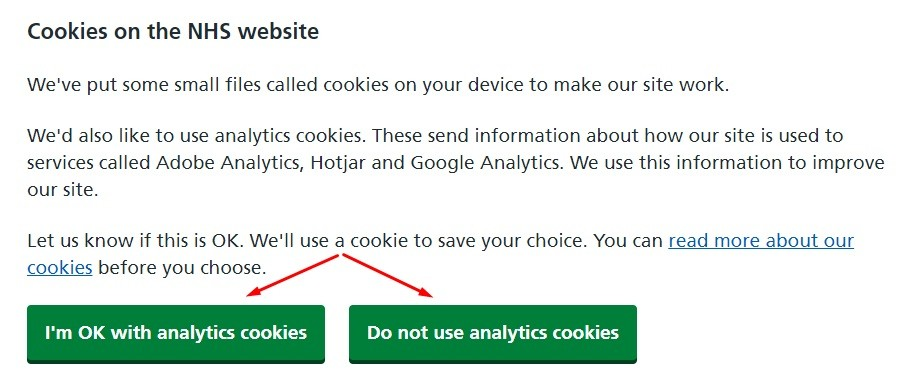 NHS Cookies Declaration with consent buttons highlighted