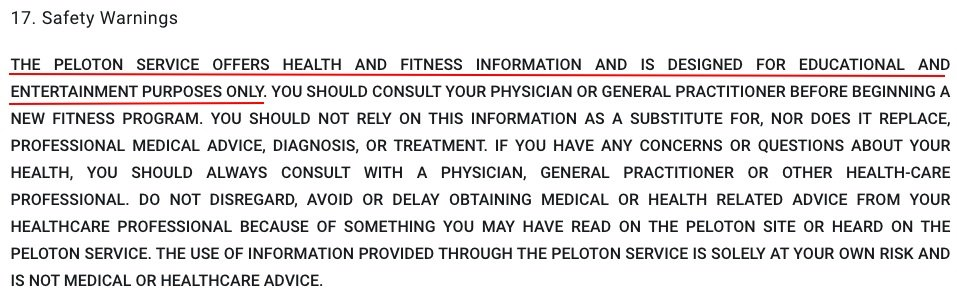 Peloton Terms of Service: Safety Warnings clause - Disclaimer