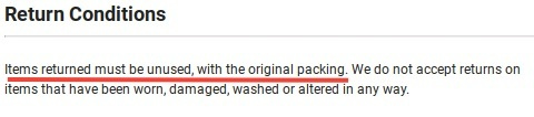 SHEIN Return Policy: Return Conditions clause