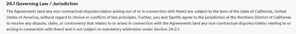 Spotify Terms and Conditions: Governing Law and Jurisdiction clause