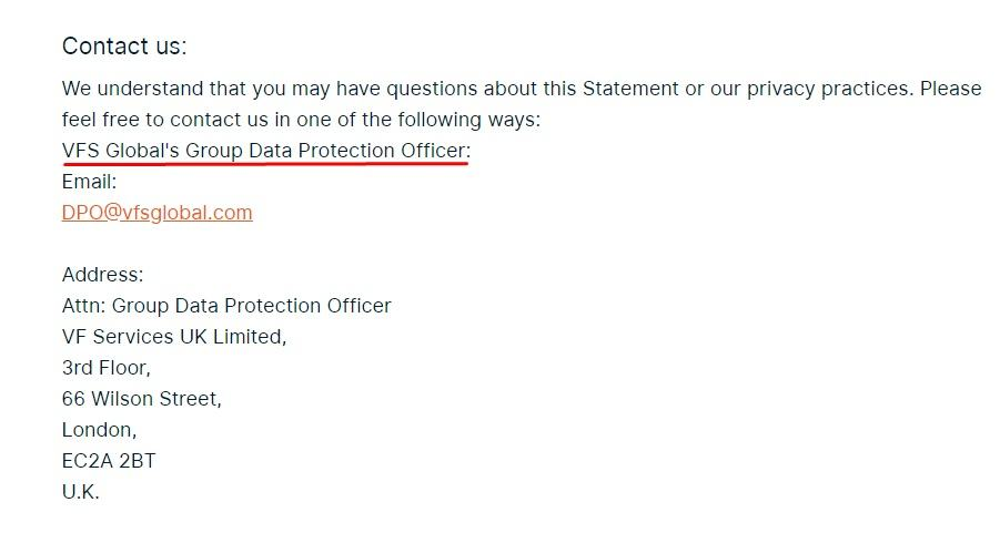 VFS Global Privacy Policy: Contact clause
