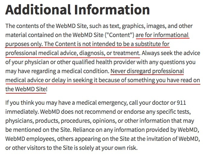 WebMD Additional Information disclaimer page
